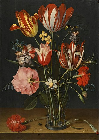 Jacob van Hulsdonck - Still life of tulips, carnations, a rose and other flowers