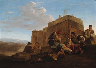 Bamboccianti - The Small Limekiln (Landscape with Morra Players) attributed to Jan Both