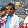 Jauna Murmu on India won Gold Medal in Women's 400 Hurdles event in Athletics, at 12th South Asian Games-2016, in Guwahati (cropped).jpg