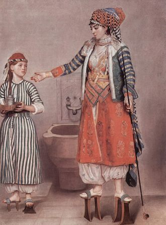 Patten (shoe) - Huge pattens worn by two 18th-century Turkish women, pastel by Jean-Étienne Liotard, who visited Turkey in 1738