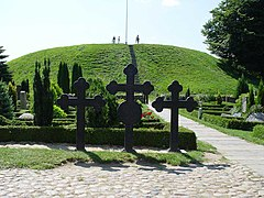 Burial mound from the 900s in Jelling churchyard