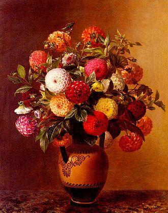 Johan Laurentz Jensen - Vase of Dahlias
