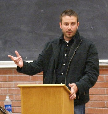 English: American journalist Jeremy Scahill gi...