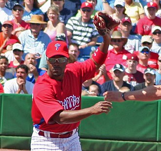 Jimmy Rollins - Jimmy Rollins right after a throw to first base, 2009.