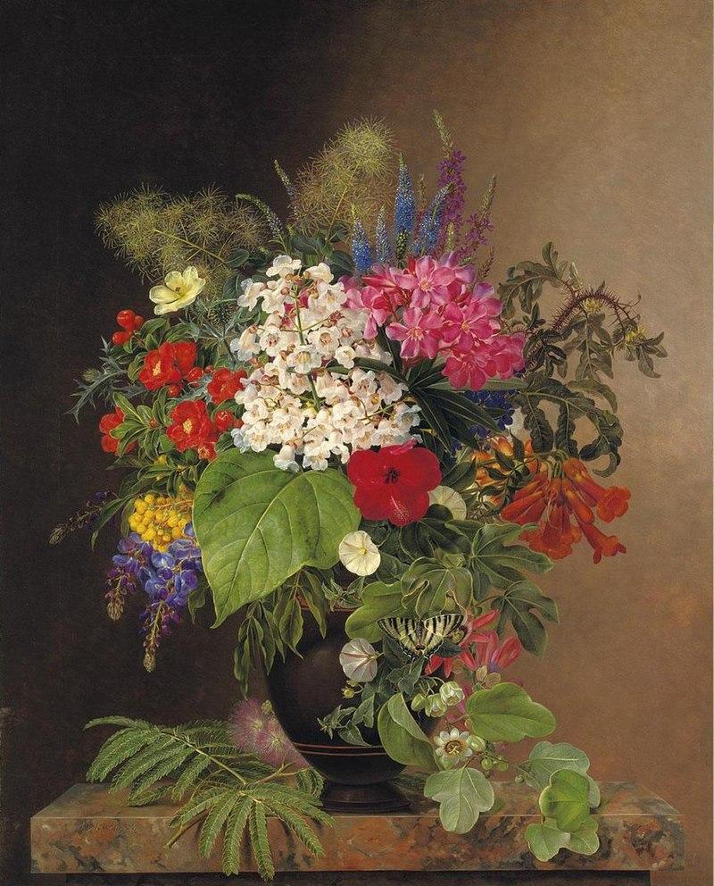 Johan Laurentz Jensen - Convulvulus, Lupins, Speedwell and Fuschia in a Vase (11251147956).jpg