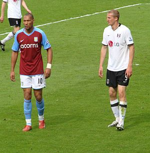Brede Hangeland - Hangeland marking fellow Norwegian John Carew of Aston Villa in April 2009