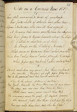 "Manuscript in George Keats's hand titled ""Ode on a Grecian Urn 1819."" It is a fair copy in pen and ink of the first two verses of the poem. The writing is highly legible, tall and elegant, with well-formed letters and a marked slope to the right. The capital letters are distinctive and artistically formed. Even-numbered lines are indented with lines 7 and 10 are further indented. A scallopy line is drawn beneath the heading and between the verses."