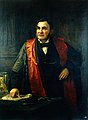 John Wood FRS, FRCS (1825-1891) giving a lecture. Oil painti Wellcome L0019571.jpg