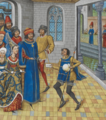 John of Gaunt, Duke of Lancaster, receiving a letter from the King of Portugal - Chronique d' Angleterre (Volume III) (late 15th C), f.236r - BL Royal MS 14 E IV.png