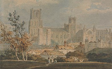 View of Ely Cathedral, J. M. W. Turner (circa 1796), Yale Center for British Art Joseph Mallord William Turner - View of Ely Cathedral - Google Art Project.jpg