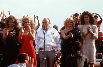 USS New Jersey (BB-62) - Entertainers during a Christmas Eve USO show in 1983 on board the USS New Jersey (BB-62) off the coast of Beirut, Lebanon. (left to right) Miss USA Julie Hayek, Cathy Lee Crosby, Bob Hope, Ann Jillian and Brooke Shields.