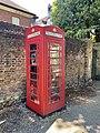 K6 telephone kiosk near junction of Upper Terrace and Heath Street, Hampstead, June 2021.jpg