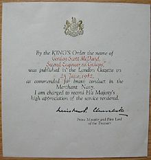 Kings commendation for brave conduct 1916 1952 wikipedia certificate of a kings commendation awarded posthumously to a merchant seaman yelopaper Images