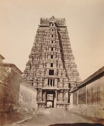 KITLV 92171 - Unknown - Gopura (tower) in the Ranganatha temple complex at Srirangam in India - Around 1870.tif