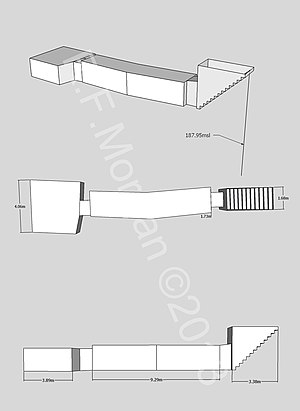 KV37 - Isometric, plan and elevation images of KV37 taken from a 3d model