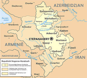 Armenians in Azerbaijan - Map of the unrecognised Nagorno-Karabakh Republic.