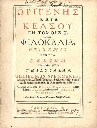 Celsus - Origen, Contra Celsum (1676 edition)