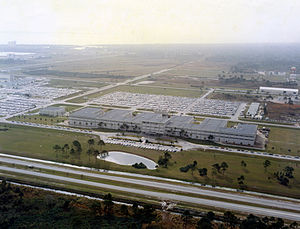 KSC Headquarters Building - Aerial view of KSC Headquarters looking south