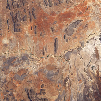 Ewaso Ng'iro - The dry river bed is exposed in this true-colour image.