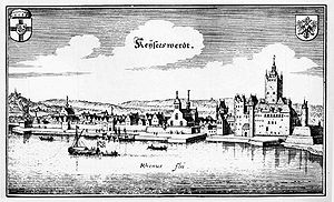 Düsseldorf-Kaiserswerth - Kaiserswerth in 1646, engraving by Matthäus Merian.