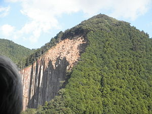 Tropical Storm Talas (2011) - The heavy rains from Talas triggered numerous landslides, such as this one in Kihō, across the mountainous terrain of Japan.