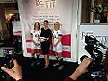 Kirsty Gallacher and England's Women's Rugby players at Be Fit London 2014.jpg