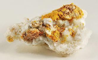 McDermitt, Nevada and Oregon - Kleinite (a rare mercury mineral) on calcite, from the Cordero Mine, McDermitt. Size: 4.9 x 3.1 x 2.6 cm.