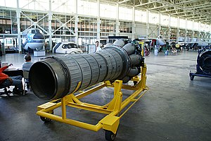 Klimov VK-1 jet engine from MiG-15bis (c-n 1B01524) rear 3-4 view starboard side.jpg