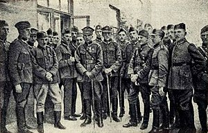 Adam Koc - Polish Armed Forces officers after the capture of Grodno in September 1920. Adam Koc in the middle, with Virtuti Militari award