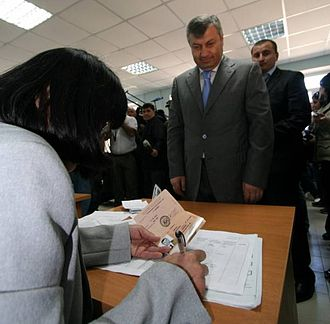 South Ossetian parliamentary election, 2009 - President Eduard Kokoity voting in the 2009 parliamentary elections