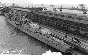 German cruiser Königsberg - Königsberg in port; note the offset arrangement of the rear gun turrets