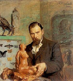Konstanty Laszczka - Portrait of Konstanty Laszczka by Leon Wyczółkowski, with nude in clay (1901-1902)