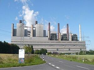 Bestandskraftwerk (ohne BoA-Neubau); Blöcke A (rechts) bis E (links)