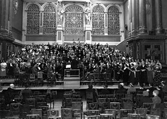 Berliner Philharmonie - Performance of Judas Maccabaeus (Handel) by Kulturbund Deutscher Juden orchestra, in the (Bernburger Straße) Berliner Philharmonie. Conductor: Kurt Singer. 7/8 May 1934