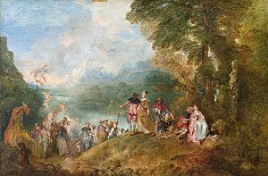 Jean-Antoine Watteau - The Embarkation for Cythera, 1717, Louvre. Many commentators note that it depicts a departure from the island of Cythera, the birthplace of Venus, thus symbolizing the brevity of love.