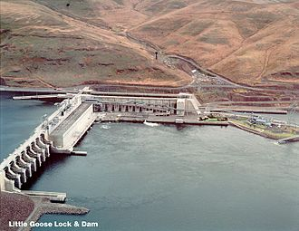Little Goose Dam - From the north side of the Snake River