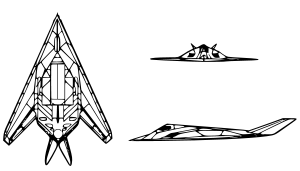 An orthographically projected diagram of the F-117A Nighthawk