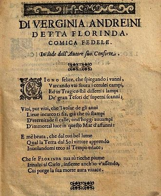 Virginia Ramponi-Andreini - Poem by Virginia Ramponi-Andreini in praise of her husband, published in the 1606 edition of his play La Florinda