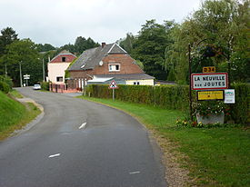 La Neuville-aux-Joûtes (Ardennes) city limit sign.JPG