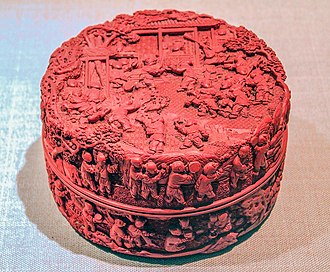 "Vermilion - A Chinese ""cinnabar red"" carved lacquer box from the Qing dynasty (1736–1795), National Museum of China, Beijing"