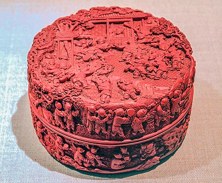 "A Chinese ""cinnabar red"" carved lacquer box from the Qing dynasty (1736-1795), National Museum of China, Beijing Lacquerware-roundbox-w-children.jpg"