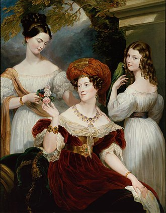 Charles Stuart, 1st Baron Stuart de Rothesay - Stuart's wife Elizabeth, Lady Stuart de Rothesay, and daughters Charlotte (later Countess Canning) and Louisa (later Marchioness of Waterford), painted in Paris by George Hayter, 1830.