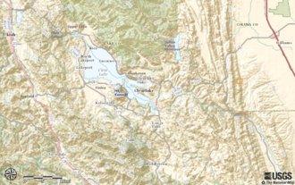 Lake County, California - Topological map of central Lake County