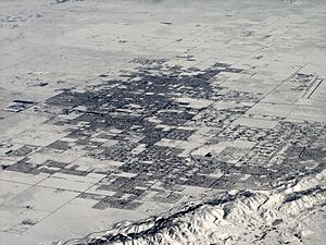 Lancaster, California - Lancaster covered in several inches of snow after a winter snowstorm in December 2008