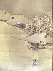 Landscape under snow: mountain village