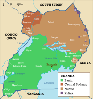 Demographics of Uganda - An ethnolinguistic map of Uganda.