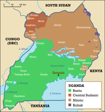 Ethnolinguistic map of Uganda.