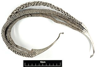 Bedale Hoard - Large silver neck-ring from the Bedale hoard. This is a unique example of this type.