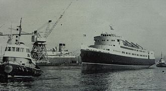 SS Ben-my-Chree (1965) - Ben-my-Chree is launched at Birkenhead, Friday, 10 December 1965
