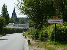 Le Gros-Theil (Eure, Fr) city limit sign.JPG
